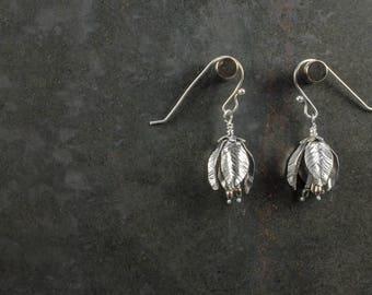 Sterling Silver Flower Bud with Pearls Earrings
