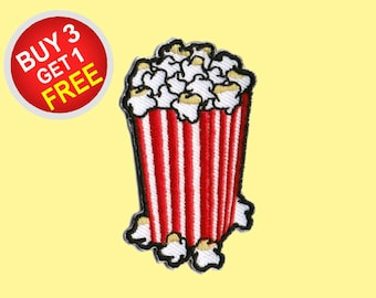 Popcorn Patches Set Iron On Embroidered Patches Movie Snack