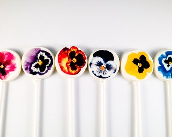 6 Pansies White Chocolate Lollipops