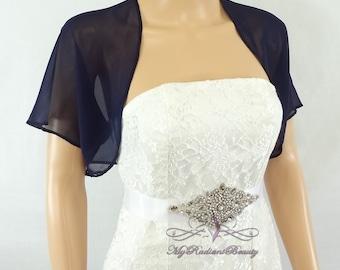 Navy Blue Chiffon Jacket, Bridal Bolero, Wedding Bolero Jacket, Chiffon Jacket, Bolero Shrug, Wedding Wrap, Scarf, Bridal Stole SCJ108-NBLUE
