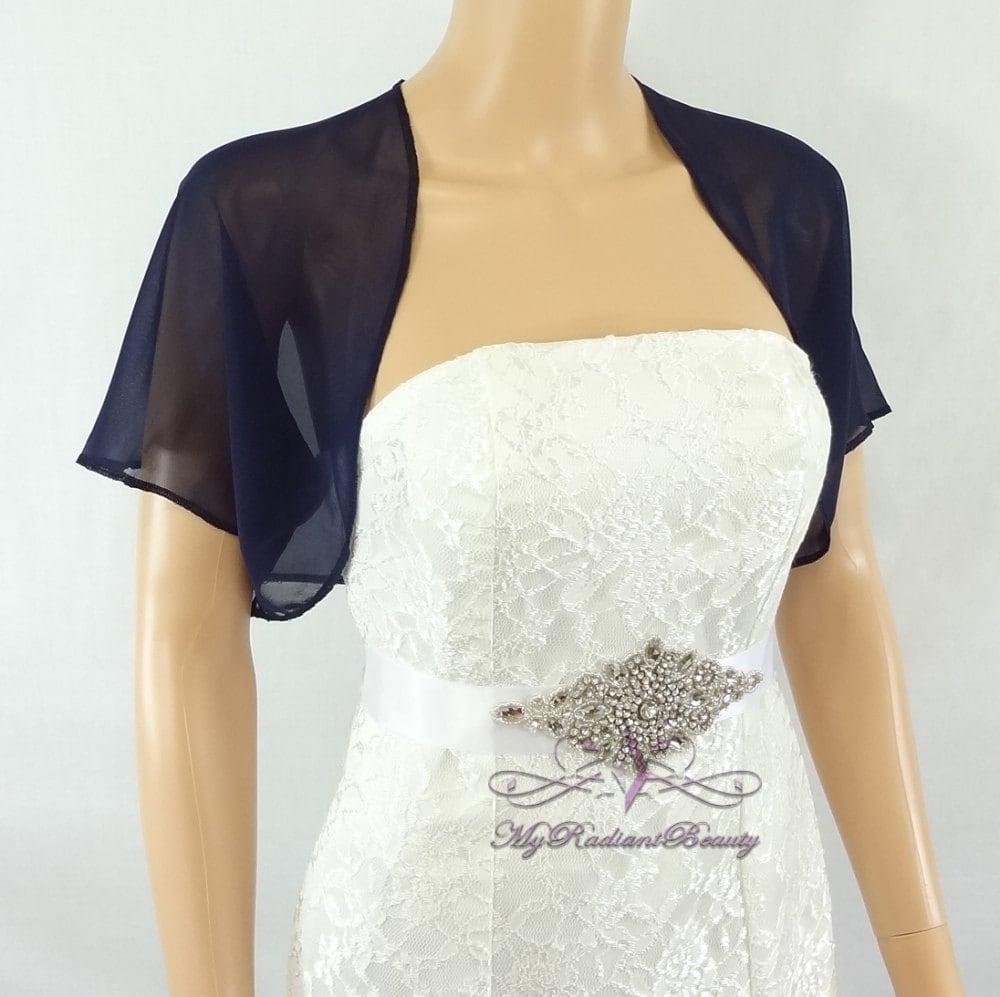 Navy blue chiffon jacket bridal bolero wedding bolero zoom ombrellifo Image collections