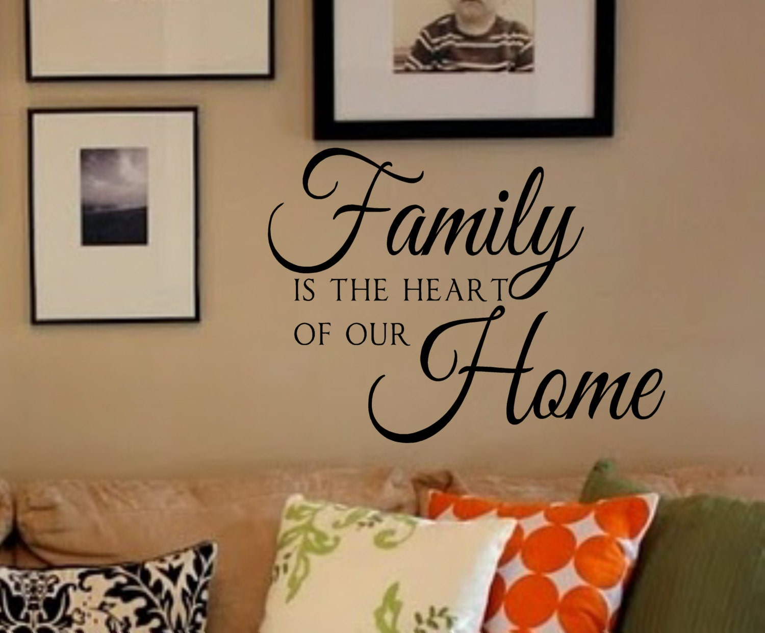Family Is The Heart Of Our Home Vinyl Wall Decal