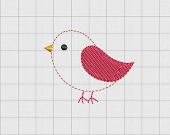 "Bird Tweet Felt Embroidery Design in 1"" 1.5"" and 2"" Sizes"