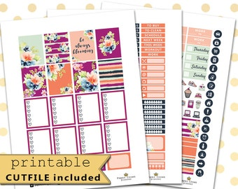 BLOOMING Printable Planner Stickers for use with Erin Condren Life Planner/Floral Sticker Set/Weekly Planner Sticker Kit/Silhouette