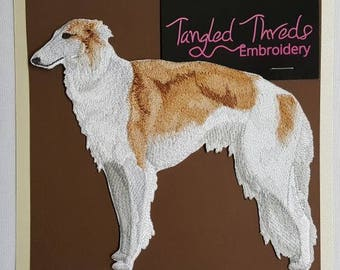 """Borzoi Russian Wolfhound Dog Embroidered Patch 6.5""""x5.8"""""""