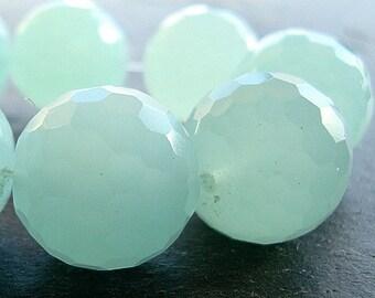 Czech Glass Beads 10mm Seafoam Green Faceted Milky - 8 Pieces