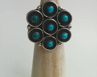 Sterling Silver Vintage Native American Zuni Style Flower Snake Eye Turquoise Cabochon Cluster Ring