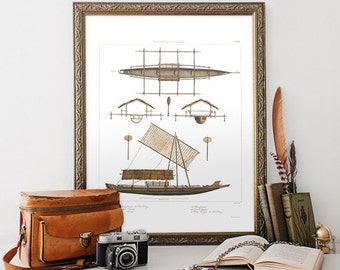 Vintage Natural History Print, Boat Art Print, Vintage Home Decor Reproduction, Boat Illustration Reproduction. Minimalist Home Decor N02