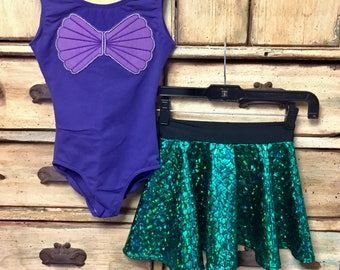 Ready to ship Girls toddler ariel little mermaid halloween costume custom leotard metallic spandex skirt disney princess 3t 4t 5 6x 7