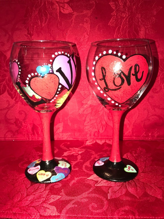 Hand Painted Valentines Day Wine Glass