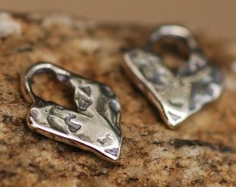 Sterling Silver Heart // Two Artisan Heart Charms // H-155/2