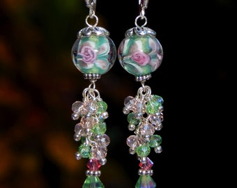 Crystal Cluster Earrings made with Green and Pink Flowers Handmade Murano Glass and Sterling Silver Lever back Ear Wires