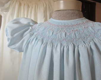 Girls Bishop Dress, Baby Blue, Imperial Batiste, size 2 to 3 years, #705