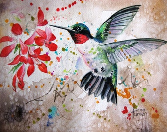 Watercolor Art Print, Hummingbird Limited Edition Giclee Art Print of a hummingbird,Wall Art Home Decor 8 x 10