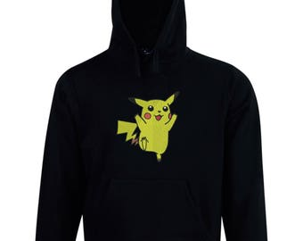 Embroidered Pikachu design fleece hoodie made just for you. Embroidery personalized custom made to order.