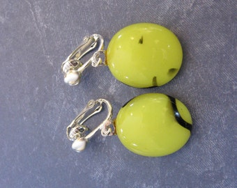 Yellow Clip On Earrings, Dangle Clipon Jewelry, Fused Glass, Ready to Ship, Dangle Clip Earring - Oh Sunshine Day - 2303 -4