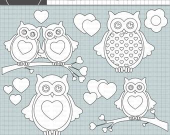 Owl Digital Stamps, Owl Digi Stamp, Valentine Card Making Embellishment, Instant Download, Commercial Use, Digital Images, Digi