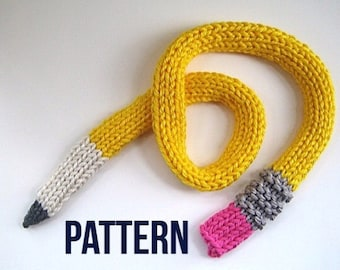 Pencil Scarf pattern - Instant Download PDF Knit PATTERN for Pencil Scarf -  Fun scarf pattern - Back-to-School scarf - Teacher Gift