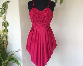 70s fuschia pink red grecian tulip disco dress gathered ruched vintage polyester maroon cherry extra small