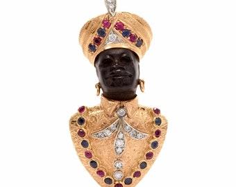 Vintage Retro Blackamoor Lapel Brooch Gold Diamond Ruby Sapphire pin