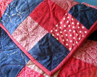 Twin Size, Full Size Custom Patchwork Quilt. Classic Double Bed Quilt. Graduation Gift. Guy Quilt. Red Quilt. Blue Quilt. Quilted bedding