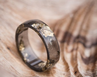 Black Resin Ring Men Ring Gold Flakes Big Size 12 Size 10 Smooth Ring OOAK for him dark gray minimalist jewelry