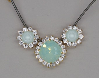 Mint Opal Necklace, Mint Green Crystal Necklace, Swarovski Necklace, Leather Cord Necklace, Green Rhinestone Necklace, Bridesmaid Gift