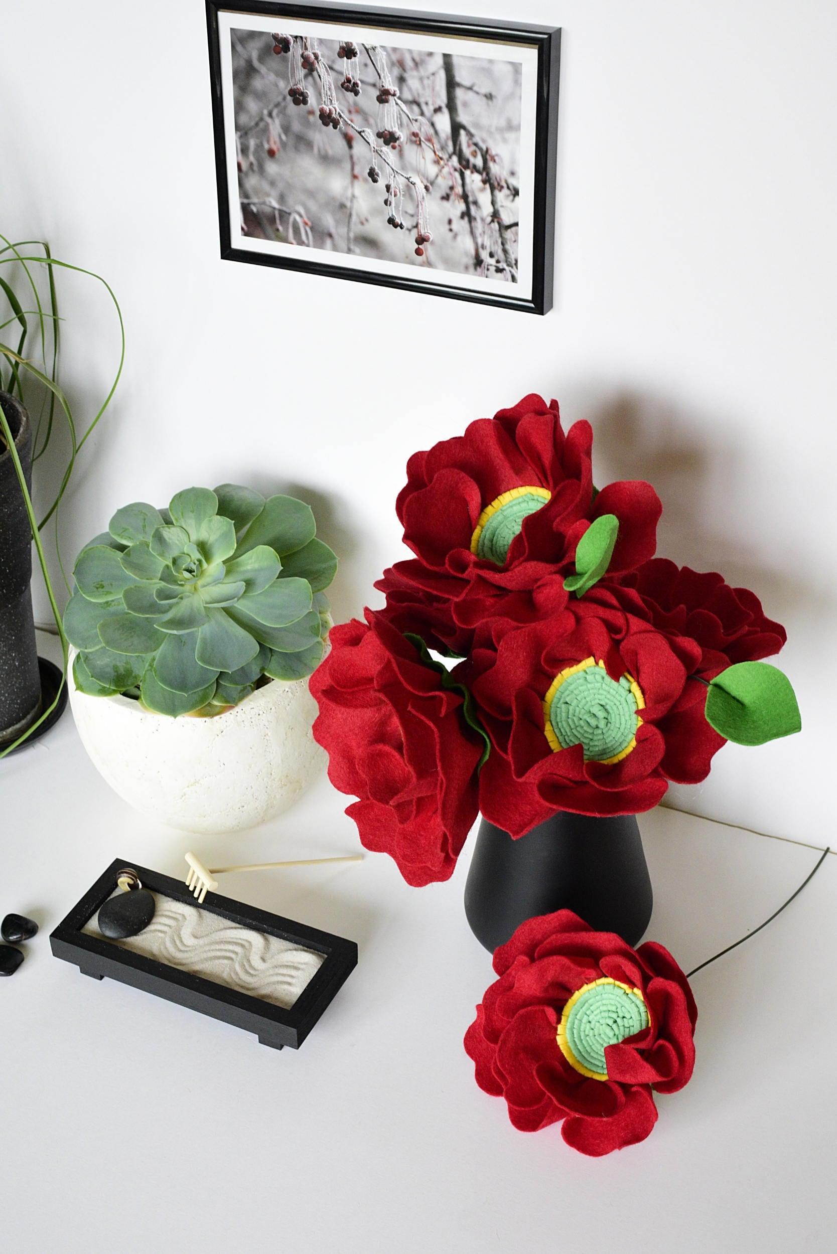 Felt flower bouquet peony arrangement peony bouquet red zoom izmirmasajfo