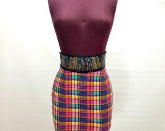 Vtg XS S Plaid High Waist Tube Skirt