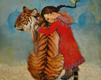 """Hand finished, limited edition giclée print of original painting by Lucy Campbell - """"Tiger for Tatiana"""""""