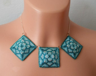 Blue Beaded Squares Necklace
