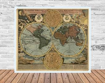 Ancient Map of the World at 1570, antique decor, fine reproduction, beautiful vintage decor, fine art print