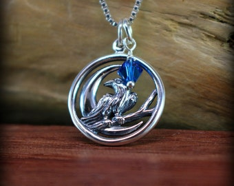 Sterling silver Raven necklace, crow trickster, crow necklace, birthstone necklace crow totem, Raven totum