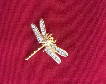 Vintage golden dragonfly pin brooch