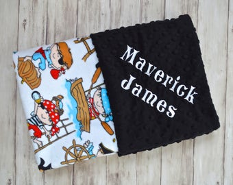 Pirate baby gift etsy clearance monogrammed baby blanket personalized minky baby pirates red black and turquoise blanket with name negle Image collections