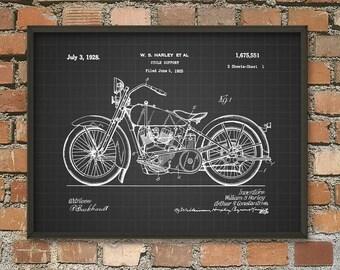 Harley Davidson Motorcycle Patent Print #3 - Vintage Harley Davidson Wall Art - Harley Wall Art - Motorcyclist Gift Idea