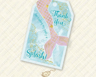Printable Mermaid Favor Tag Thank You purple and gold tags splash tail instant download pool party treat bag foil watercolor digital pdf diy