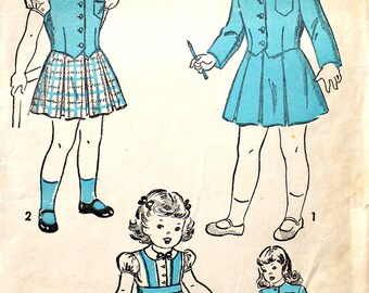 Girl's Blouse Suspender Skirt and Jacket Size 4