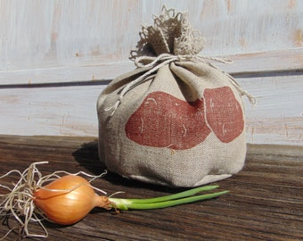 Small kitchen storage bag Food Natural linen Reusable Grocery Veggie bag Potato