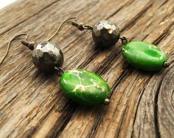 Pyrite and Green Ocean Jasper Drop Earrings - Brass Earrings - Tropical Earrings - Summer Earrings - Casual Earrings - Boho Earrings