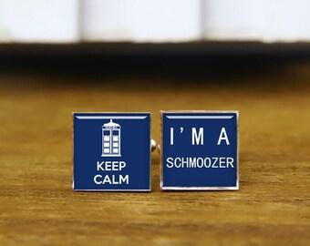 Keep Calm And I Am A Schmoozer Cufflinks, Custom Keep Calm Cuff Links, Custom Round Or Square Cufflinks & Tie Clip, Wedding Cufflinks Gifts