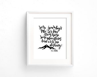 C.S. Lewis quote / some journeys take us far from home/ printable art / Narnia / The Lion, The Witch, and the Wardrobe / nursery art