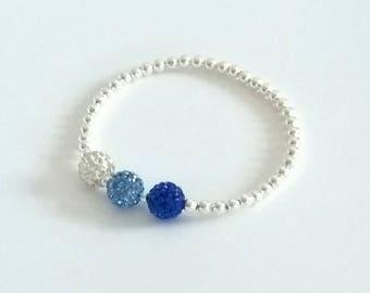 Blue Crystal Bracelet, Silver Bracelet, Blue Bracelet, Crystal Bracelet, Silver Beaded Bracelet, Stretch Bracelets,Something Blue,Bridesmaid