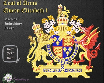 Coat of Arms Queen Elizabeth I, official coat of arms of the British monarch Queen Elizabeth I - Machine Embroidery Design in three sizes