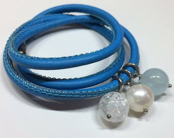 Leather bracelet with rock crystal, leather bracelet with pearl, leather bracelet with gemstones