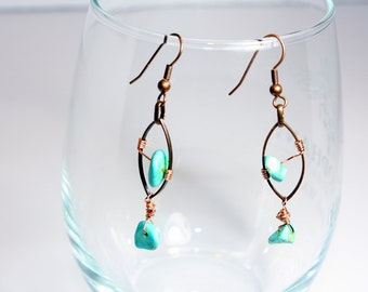 Bird on a Wire; Turquoises and Copper Dangle Earring
