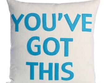 "Throw Pillow, Decorative Pillow, ""You've Got This"" pillow, 16 inch"