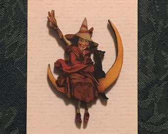 Witch On Moon Halloween Needleminder