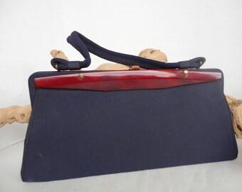 Navy Blue Fabric Handbag