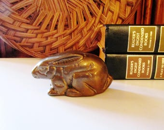 Vintage Brass Rabbit or Bunny, Paperweight or Desk Ornament